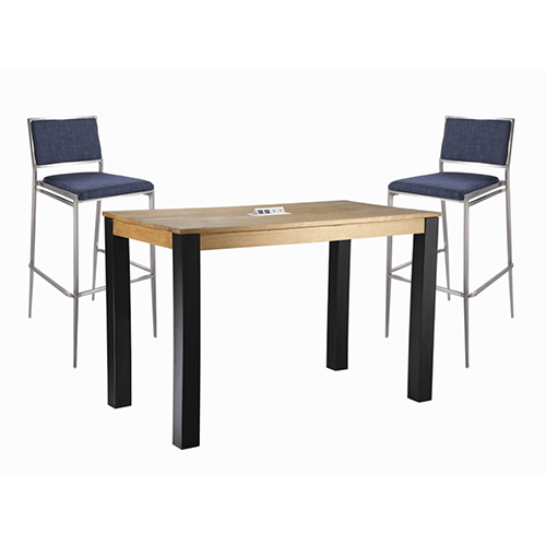 four gray molded chairs around a blue cafe table