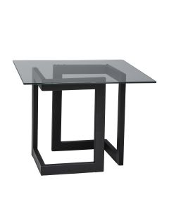 Geo End Table w/ Black Base, Glass Top