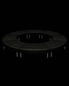 Endless Closed Circle Ottoman, Black Vinyl