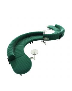 Endless Powered Low Back S Curve Sectional w/ 4 Glass Round Tables