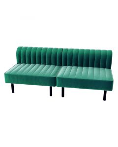 Endless Square Low Back Loveseat, Emerald Velvet
