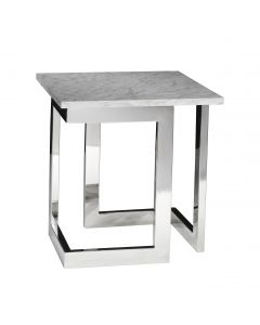 Geo End Table w/ Chrome Base, White Marble Top