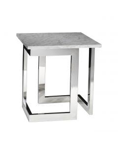 Geo End Table w/ Chrome Base, White Marble Top