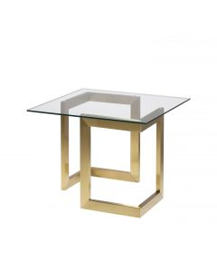 Geo End Table w/ Gold Base, Glass Top