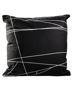 black and white pillow with line design