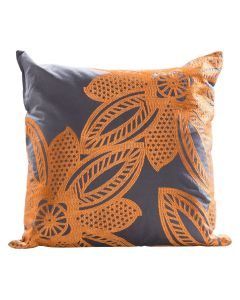 Flower Pillow, Orange/Gray