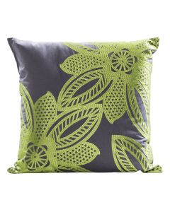 Flower Pillow, Green/Gray