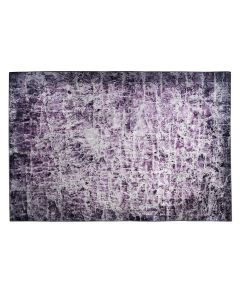purple rug with abstract design