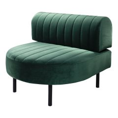 Endless Half Round Low Back Chair, Emerald Velvet