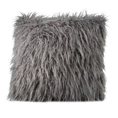 Mongolian Faux Fur Pillow, Gray
