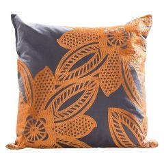 Flower Pillow, Orange/Gray