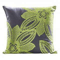 Flower Pillow, Green/Gray