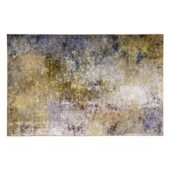 yellow rug with abstract design