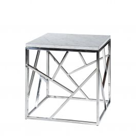 Alondra End Table, White Marble Top