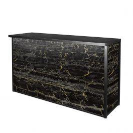 Maxim Dry Bar, LED Lighted, Black/Gold Marble