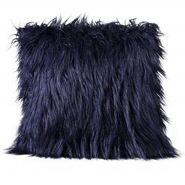 Mongolian Faux Fur Pillow, Blue