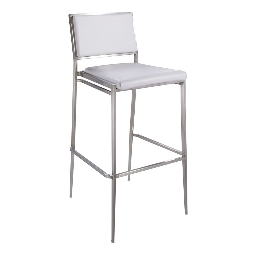 white barstool with metal frame for rent