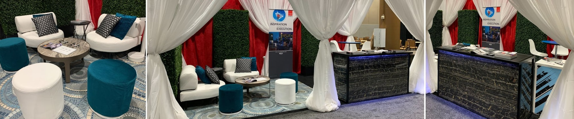 booth with white and teal furniture