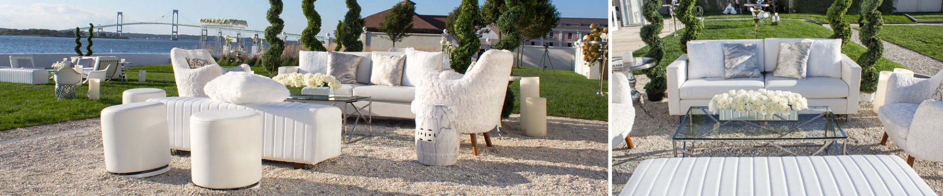 wedding reception with white furniture