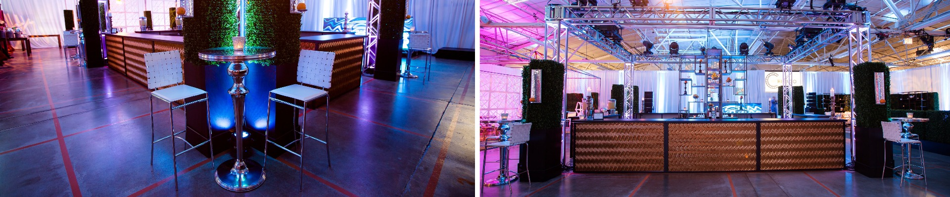 rose gold bar set up with silver bar tables and white barstools