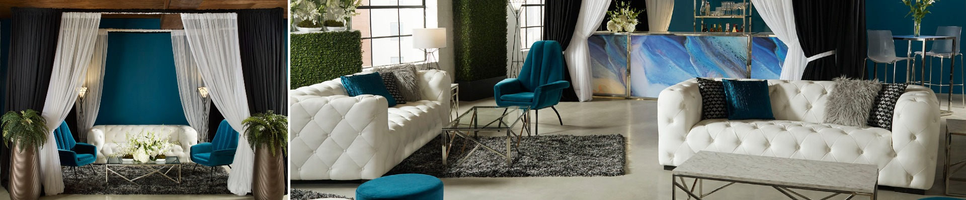 lounge with white and teal furniture