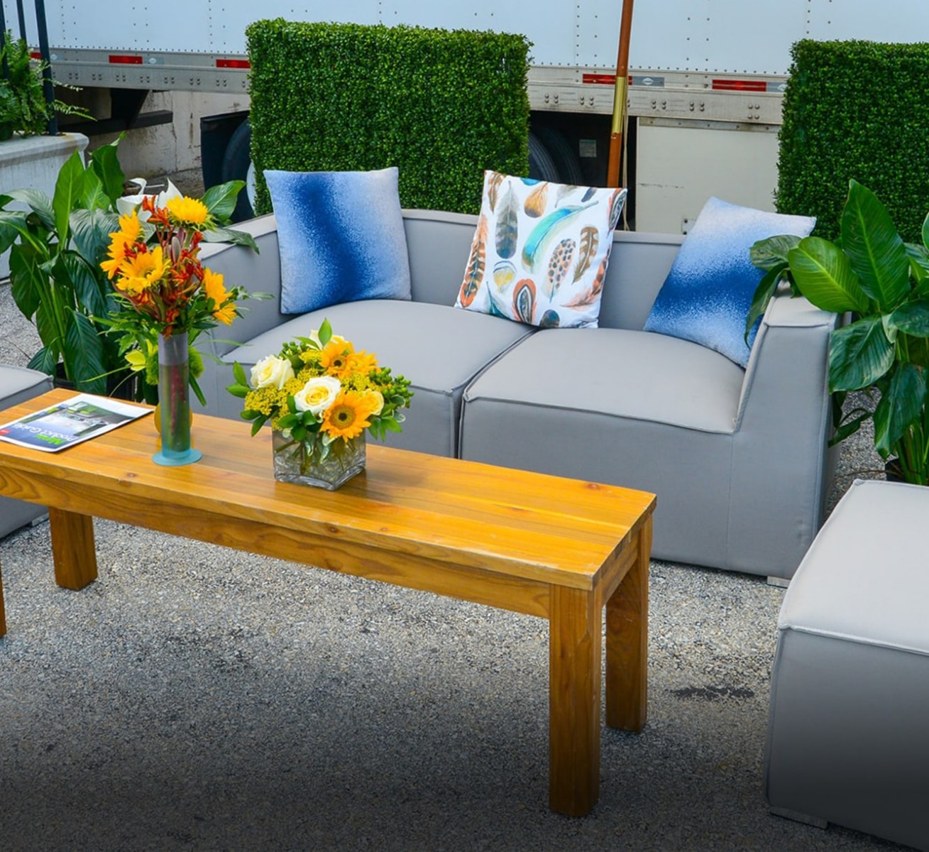 gray soft seating in outdoor lounge