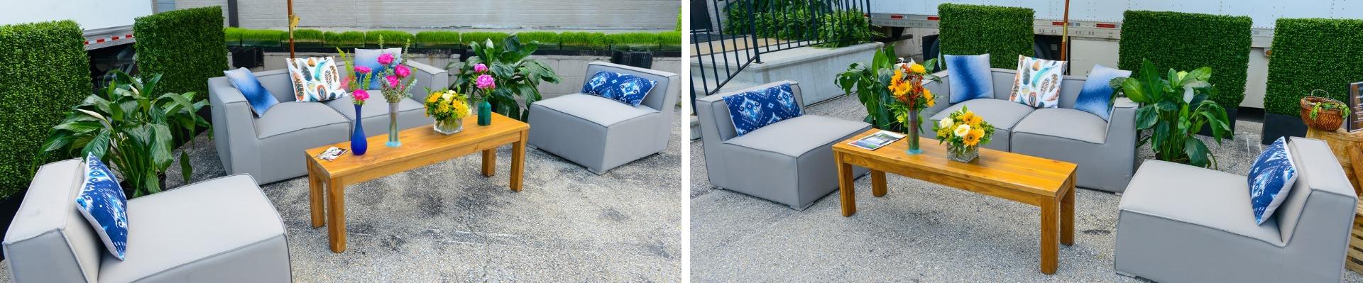 gray outdoor furniture rentals