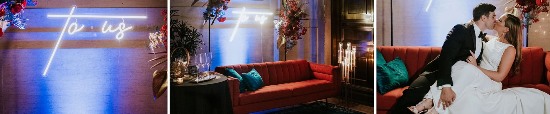 berry sofa in photo booth station at a wedding