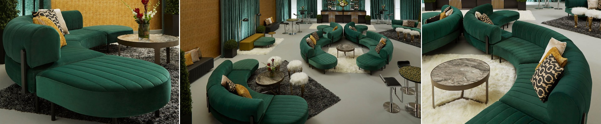 event with emerald green soft seating