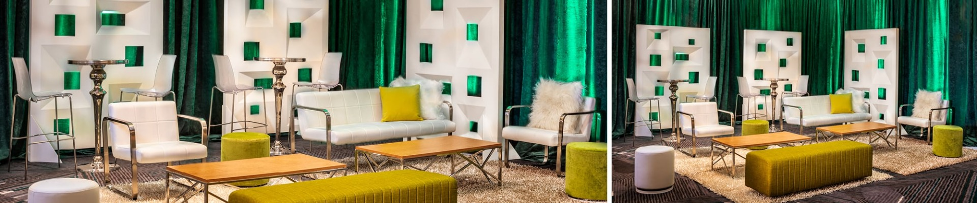 lounge with white furniture and green drape