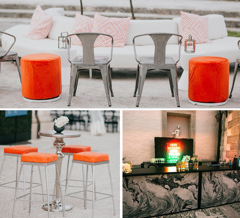 Wedding with rented orange and metallic rental furniture
