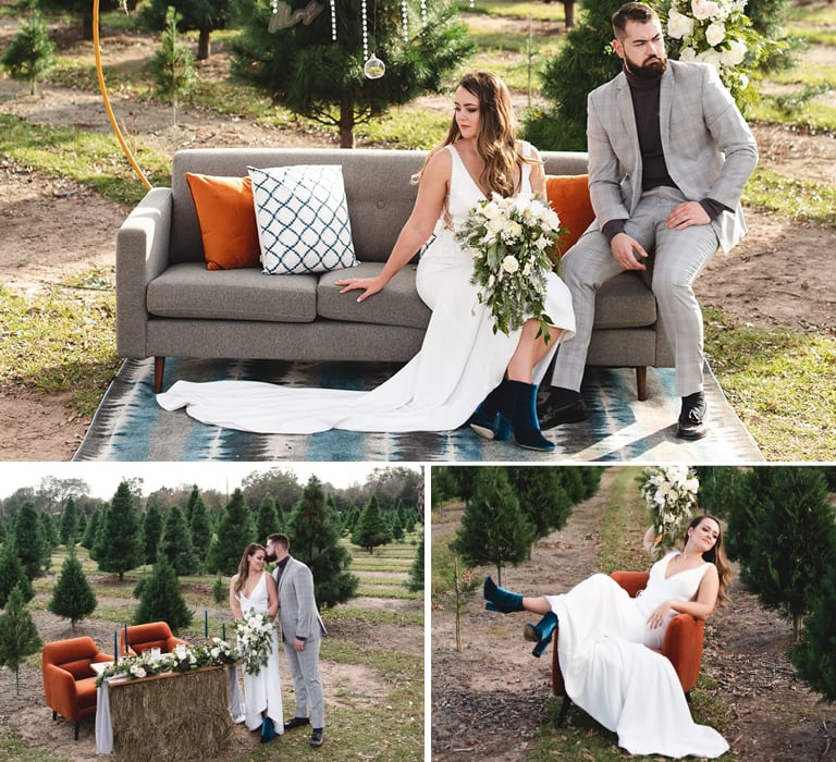wedding photoshoot with gray and orange furniture outdoor