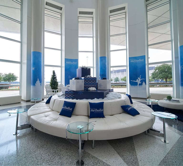lounge with white and blue furniture
