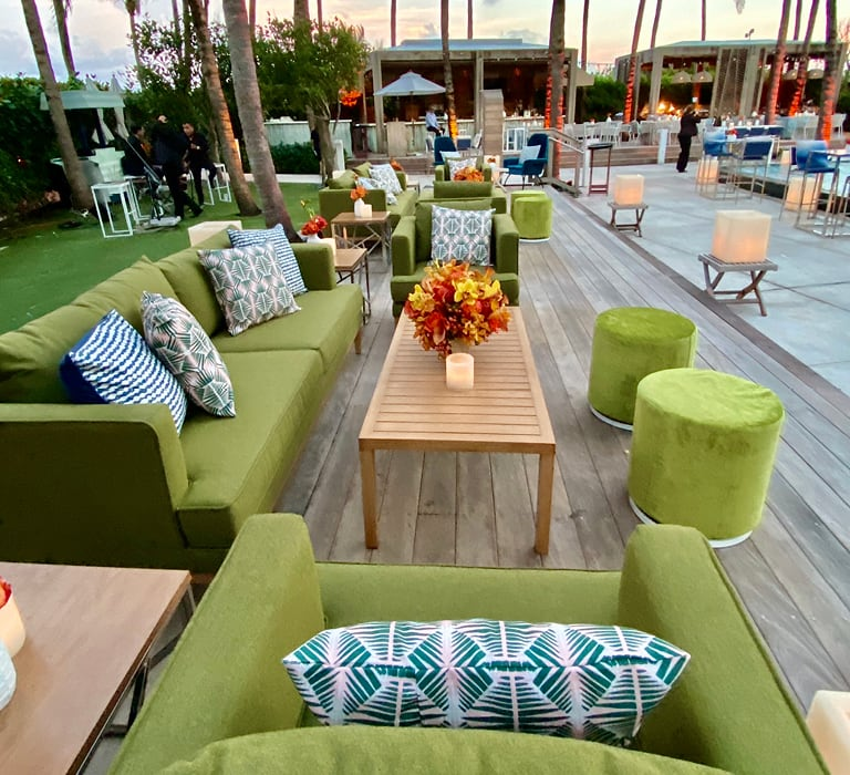 outdoor soft seating at poolside event