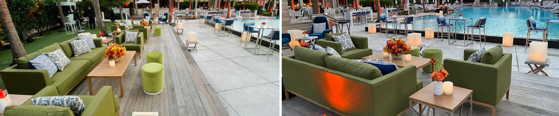 green outdoor furniture rental by pool