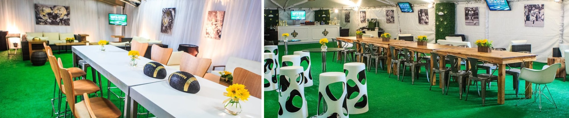 vip tent with rustic furniture