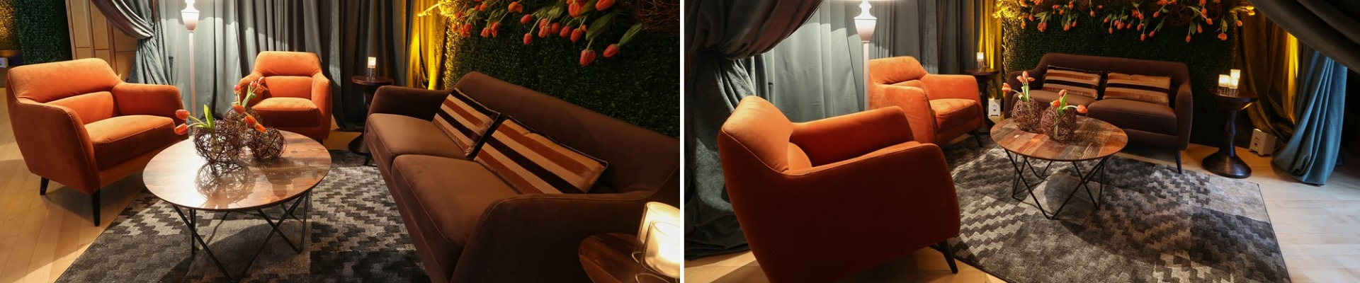 lounge with spice orange and brown soft seating