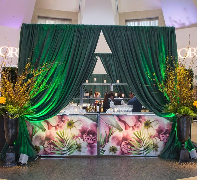 bar in green drape cabana