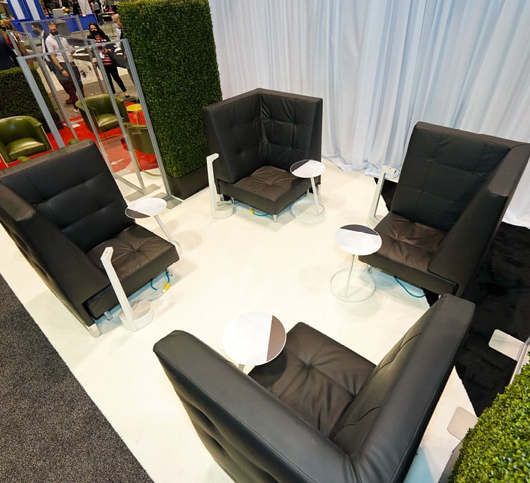 black club chair lounge in booth