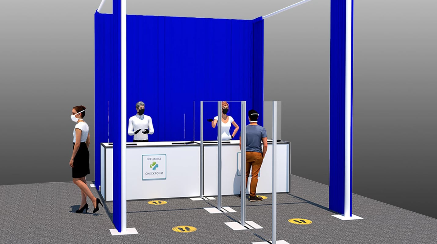 registration area with social distancing measures