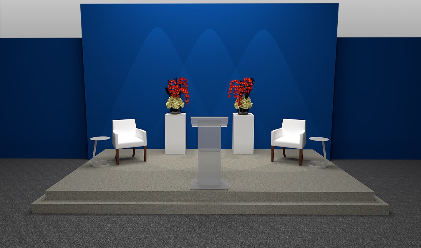 stage with white meeting chairs and acrylic podium for rent