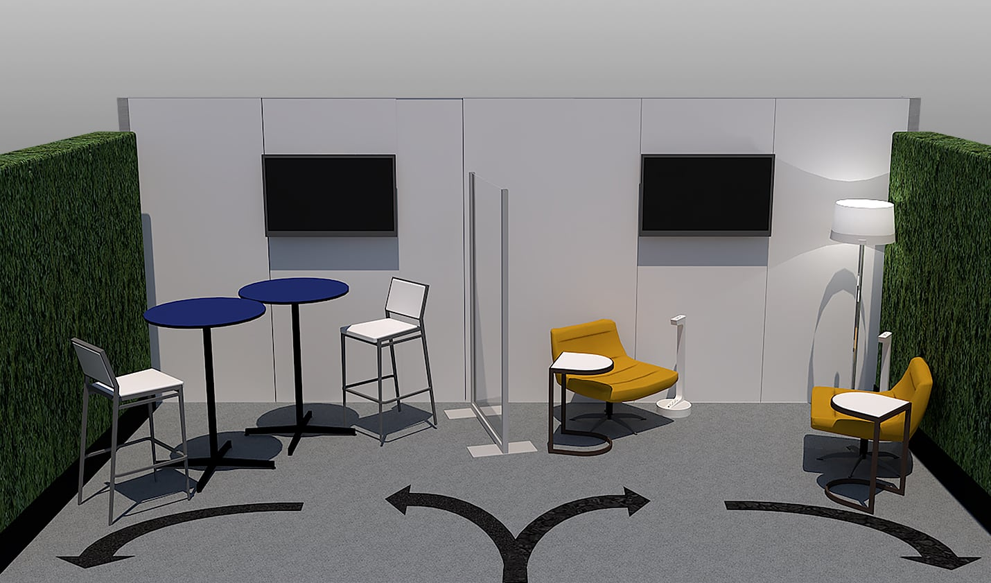 rendering of 10x20 booth space with directional signs