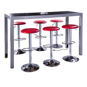 red barstools with black table for rent