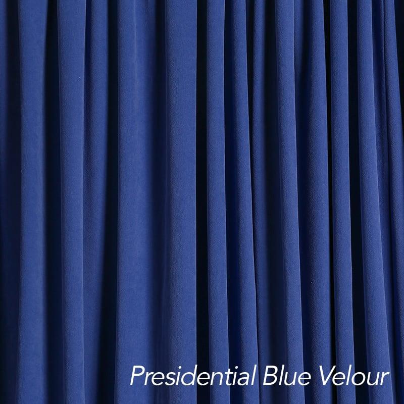 Presidential blue velour drape