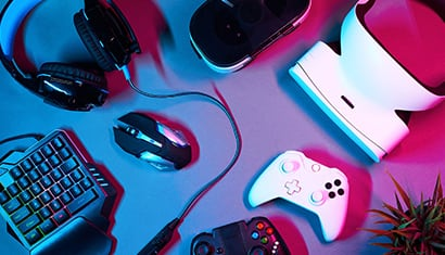 overhead view of video gaming accessories
